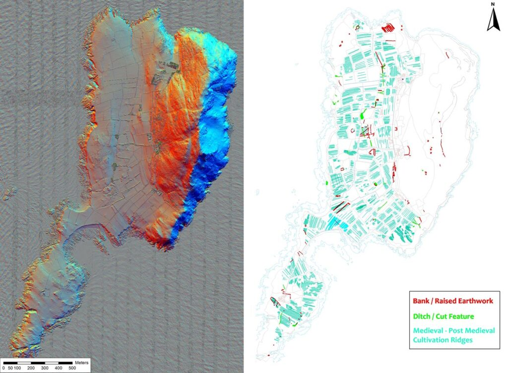 Left: 16 band multi-direction hill shade visualisation of Bardsey Island. Right: Aerial mapping of visible archaeology transcribed from ALS and aerial photography.