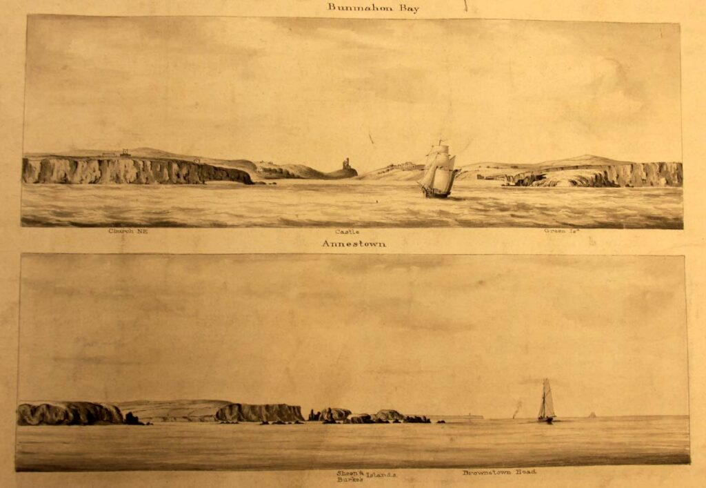 Sailing view of Annestown Beach with Woodstown promontory on the right from 1847 Survey of the South Coast of Ireland between the Bays of Tramore and Dungarvan by G. A Frazer (UKHO, L7194).