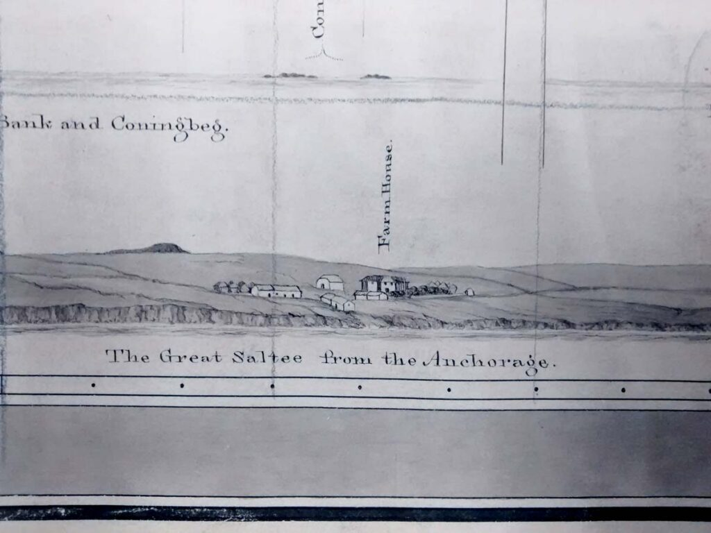 Sailing view of the landing place on Great Saltee from 1847 survey of the Saltee Islands and adjacent Coast by G. A. Frazer (UKHO, L6207).