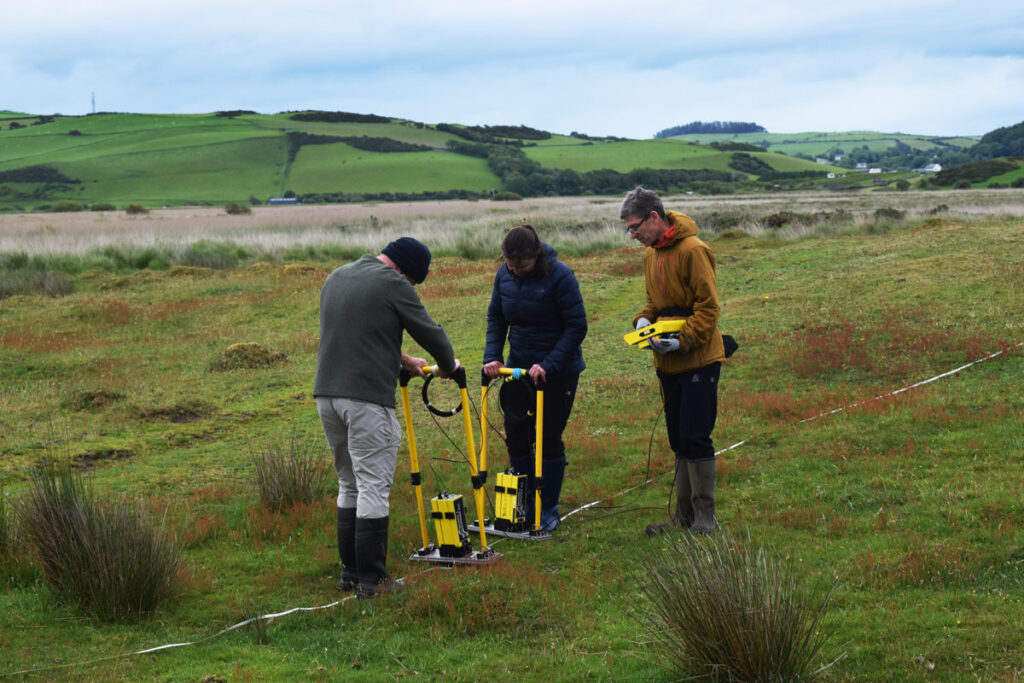 Conducting ground penetrating radar measurements on the edge of the Borth spit, Wales