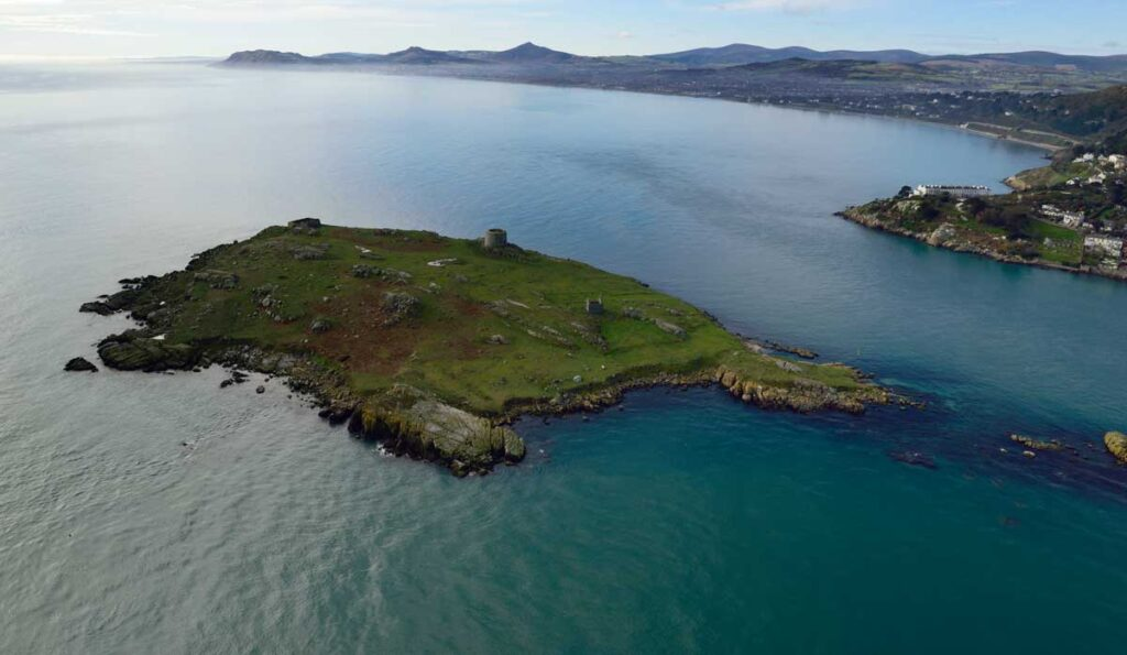 Oblique aerial image of Dalkey Islands which contains several sites and historical buildings