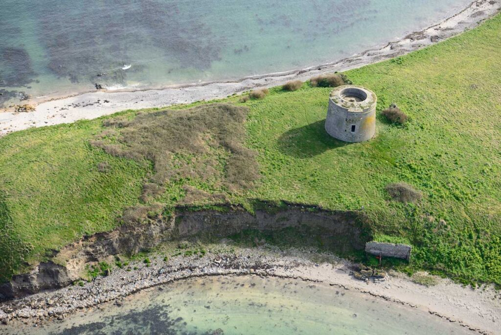 Oblique aerial image of the Martello tower situated on the north end of Shenick's Island