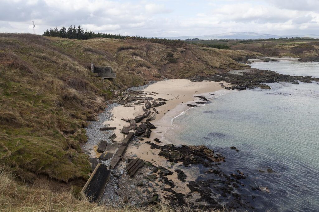 Photograph of the collapsing coast guard boat house at Kilmichael Point