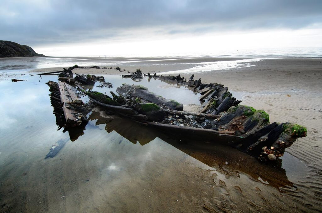 Remains of the Fosil wreck on The Warren Beach, Abersoch.