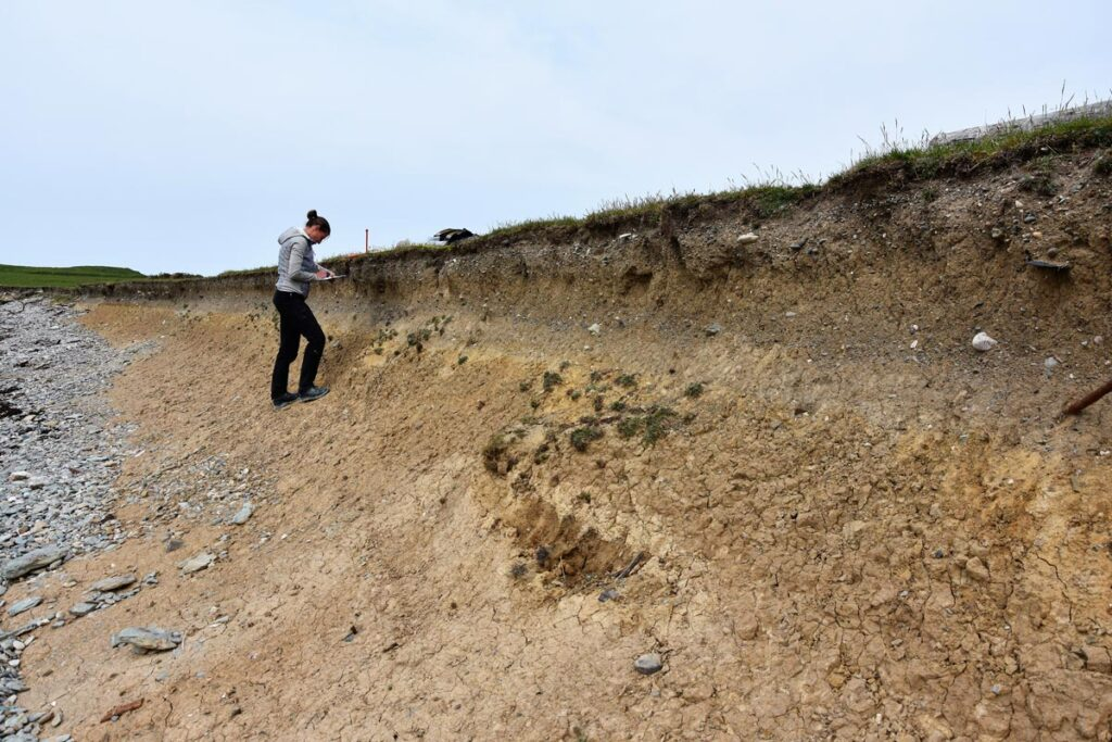 The CHERISH team monitoring and recording erosion and archaeology along the Henllwyn eroding isthmus.
