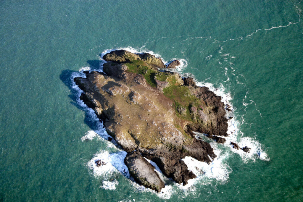Aerial photograph of Grassholm Island.