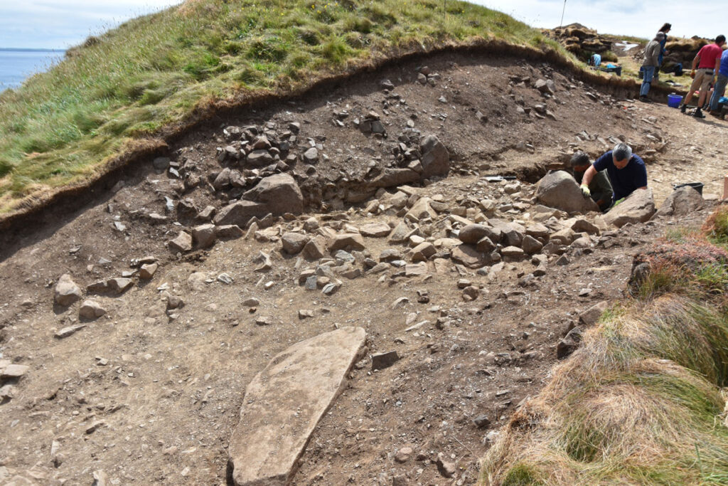 Excavation of the inner entranceway at Porth y Rhaw undertaken by Dyfed Archaeological Trust in 2019.