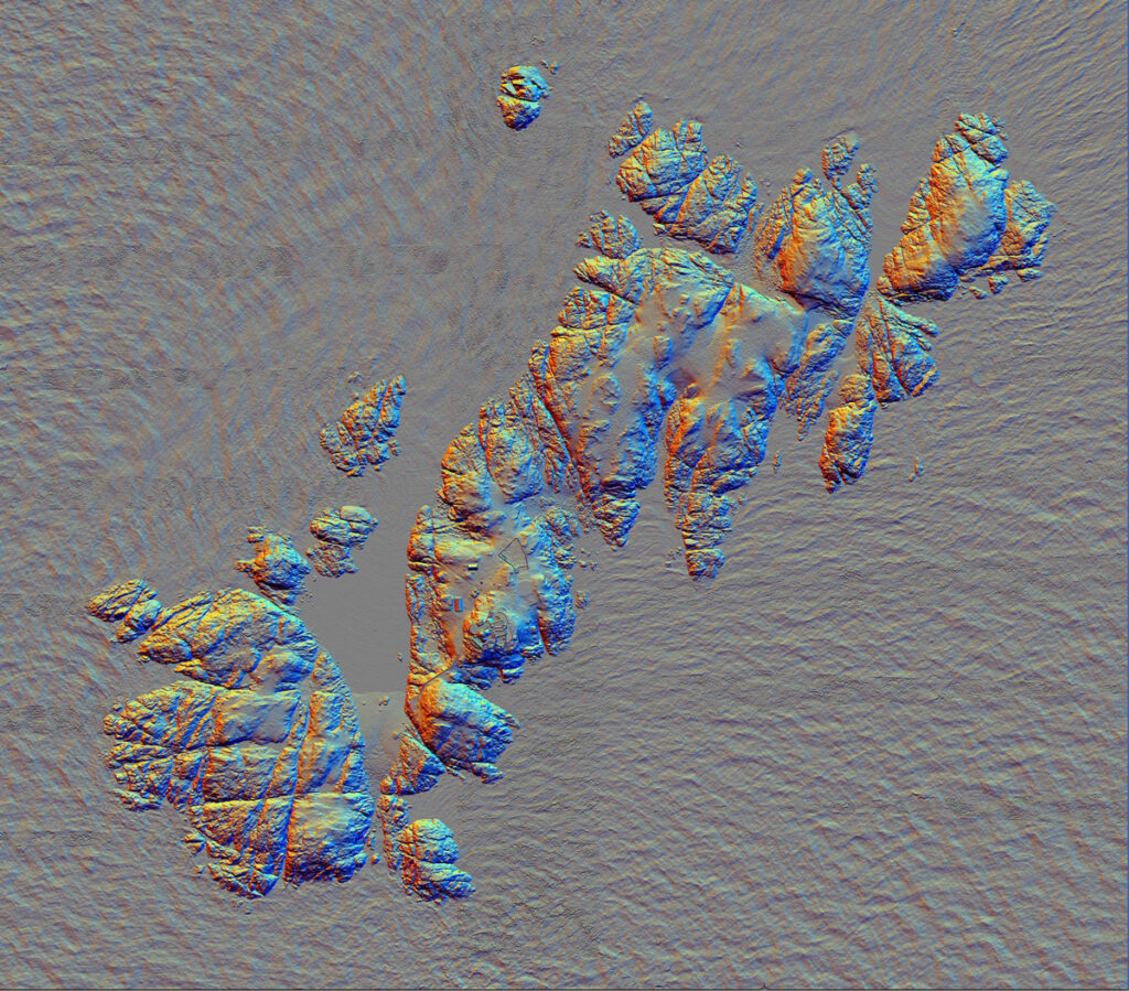 Image of the lidar DEM model of the Skerries using 16 direction Principal Components Analysis (PCA) visualisation