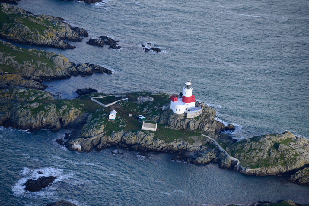 Oblique aerial image of the Skerries Island lighthouse.