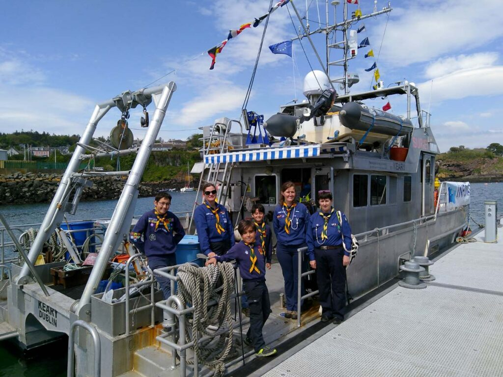 Members of the Irish Scouts during a CHERISH vessel open day.