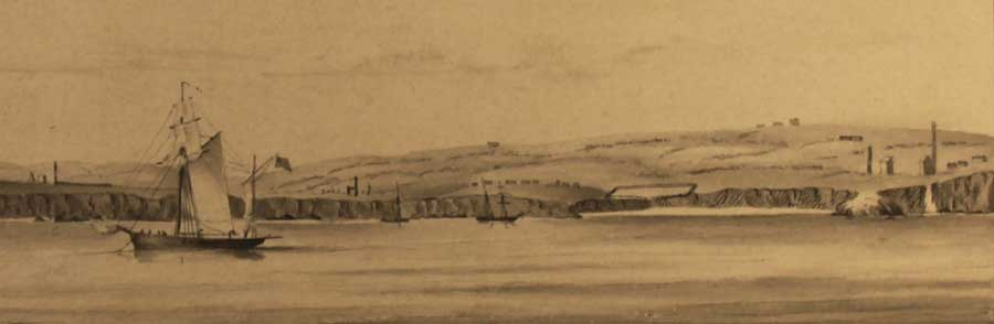 UKHO sailing view from 1849 showing ore yard and engine houses around Knockmahon (L7194).