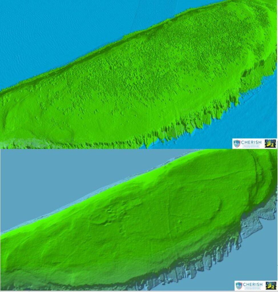 Spectacular 3D LiDAR views of Puffin Island with and without its woodland vegetation
