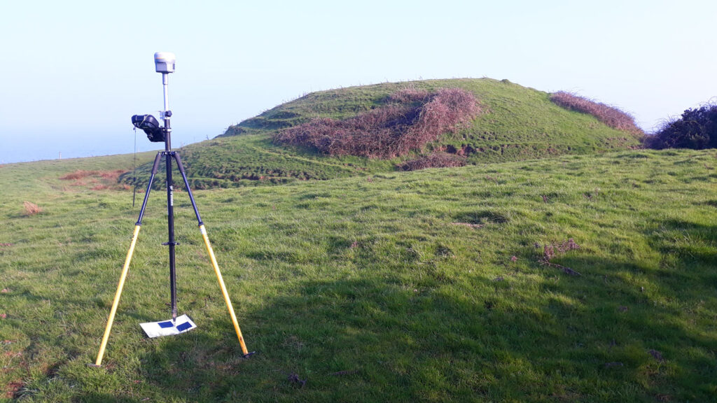 GNSS survey control being measured on a ground control target