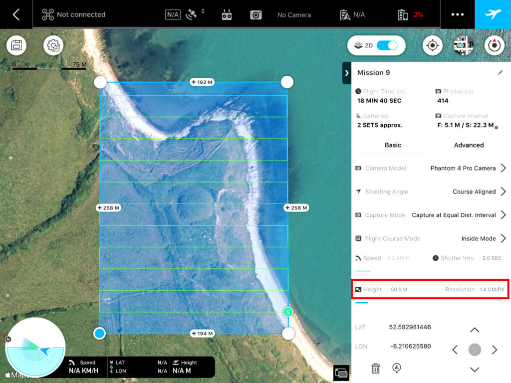 DJI Ground Station Pro app was used to programme the survey parameters in advance of a mapping survey