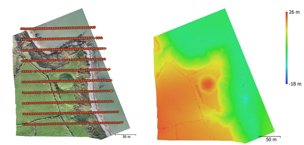 Agisoft Photoscan processing stages; the photography aligned ready for Digital Elevation Model (DEM) extraction, and the resultant DEM