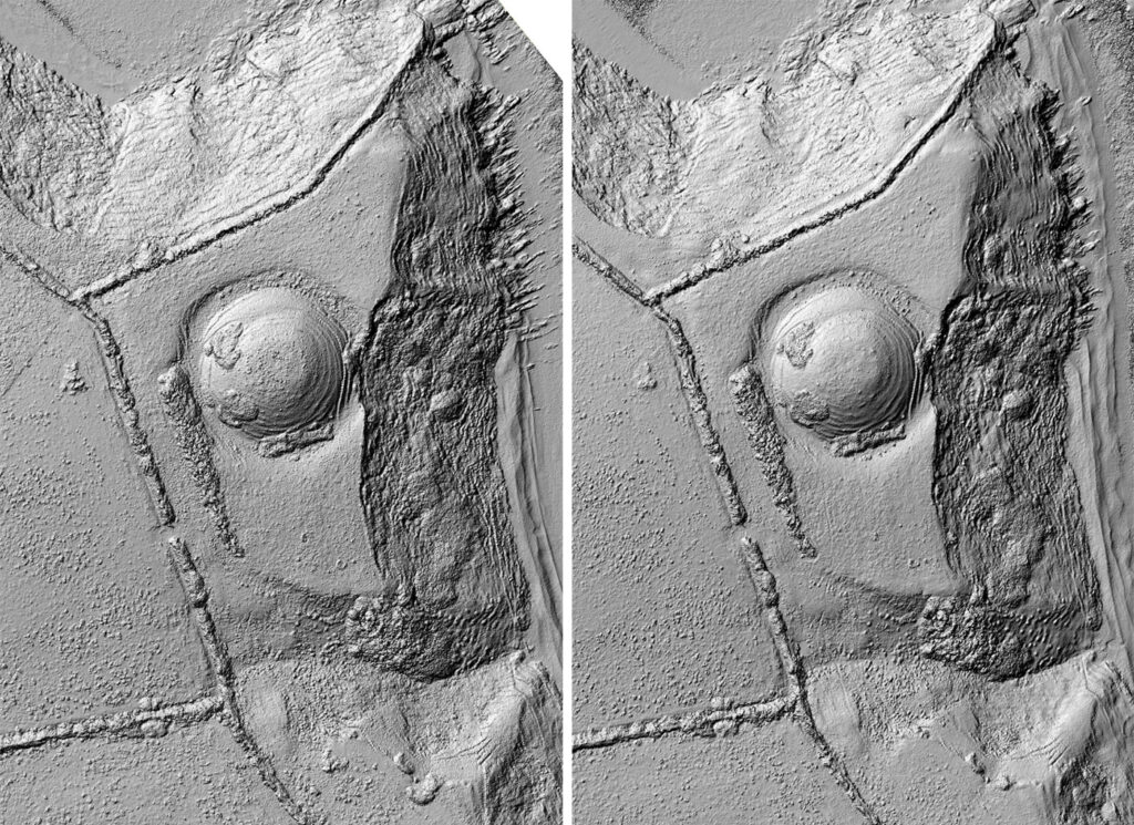 isual comparison between the shaded relief models created from DEM data captured in June 2018 (left image ) and February 2019 (right)