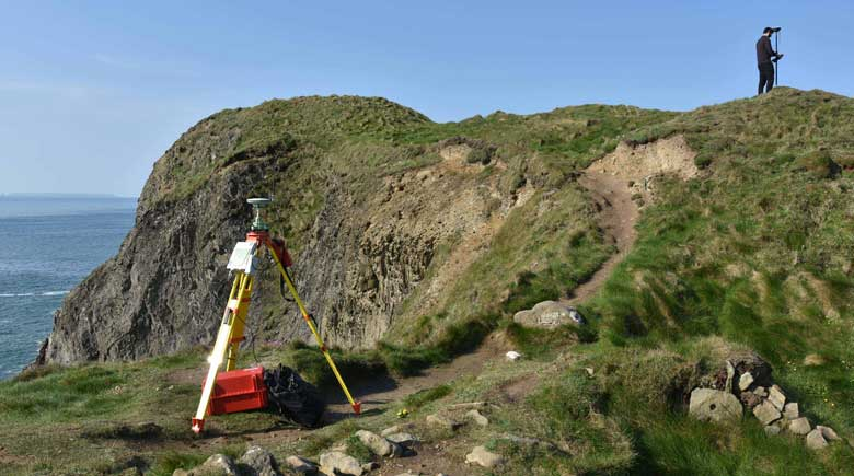 An archaeological earthwork survey in progress at Porth y Rhaw. By using highly accurate GNSS survey equipment, CHERISH has been able to record threatened monuments to extremely high levels of detail, recording them both for archaeological discovery and in perpetuity for ongoing erosion monitoring.