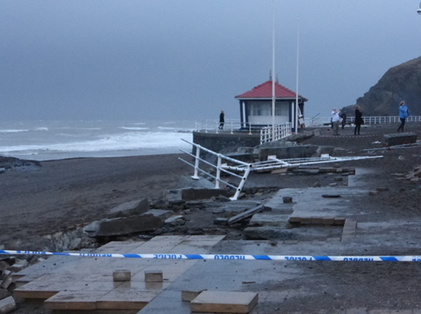 Photograph of the effects of the winter storms in 2013-2014 on the coastal town of Aberystwyth.