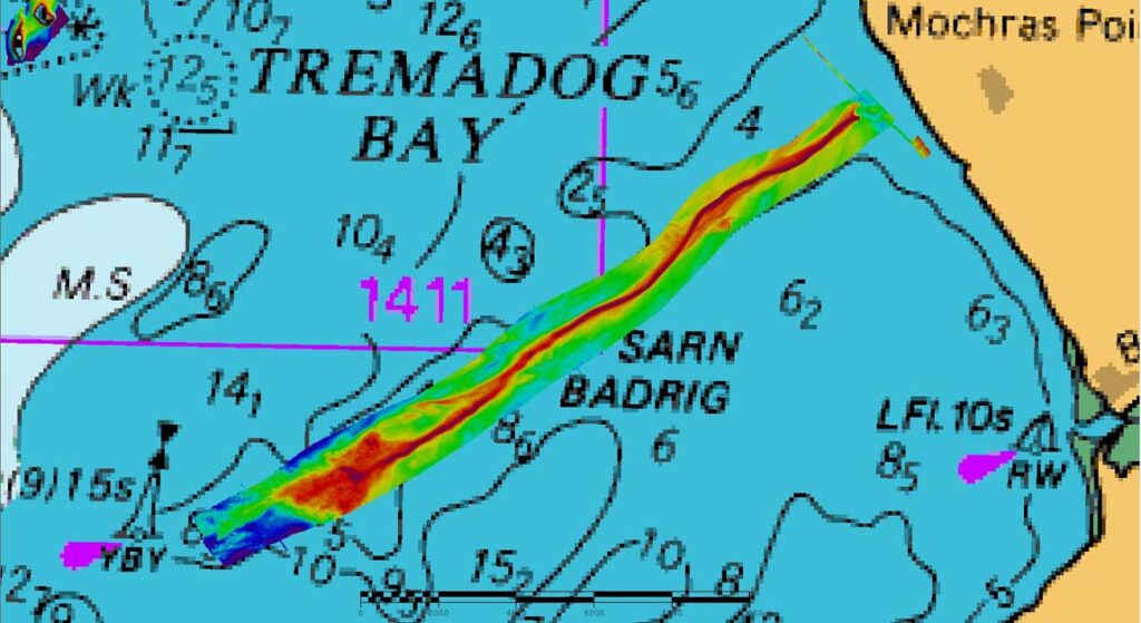 Multibeam converage of Sarn Badrig. Red is shallow, getting deeper towards blue