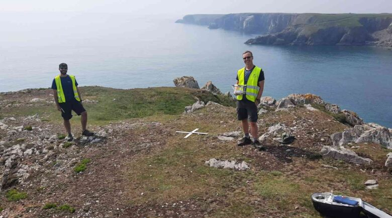 Dan Hunt and Toby Driver surveying with the drone on Crocksydam headland (CHERISH Project 2020)