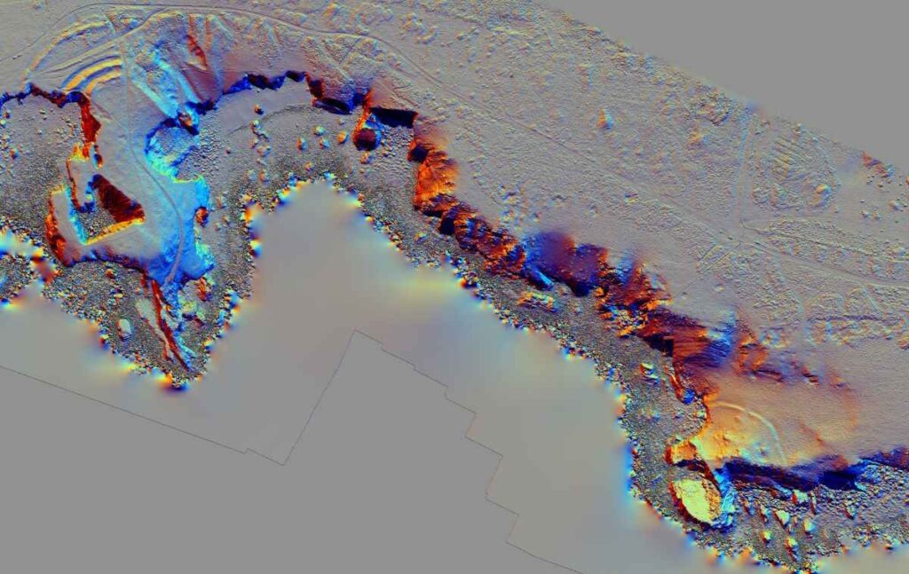 The new 3D model of Flimston Bay (left) and Crocksydam (right) promontory forts and the limestone coastline inbetween