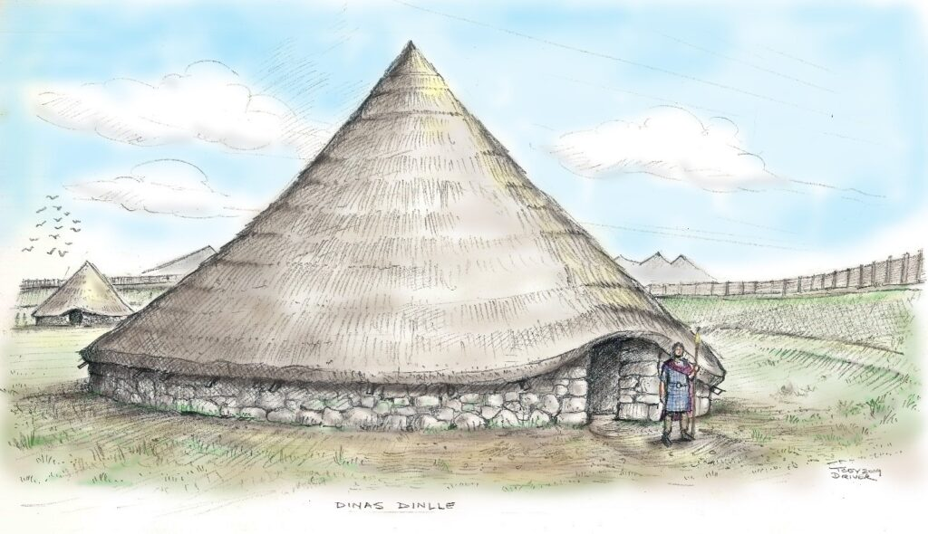 A reconstruction of the partially excavated roundhouse viewed from the north. This illustration shows how it may have appeared complete with broad stone walls supporting a tall conical roof. The location of the doorway, and many other details shown, are entirely conjectural.